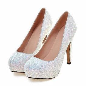Glitter Tornasol Grues Zapatos Fiestas Stilletto Blanco Taco wON0PkXZ8n