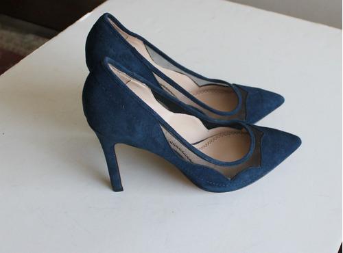 zapatos taco alto pour la victoire azul medianoche 38 gamuza