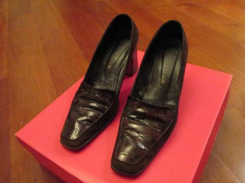 zapatos taco ancho retro de cuero, christian, talle 36