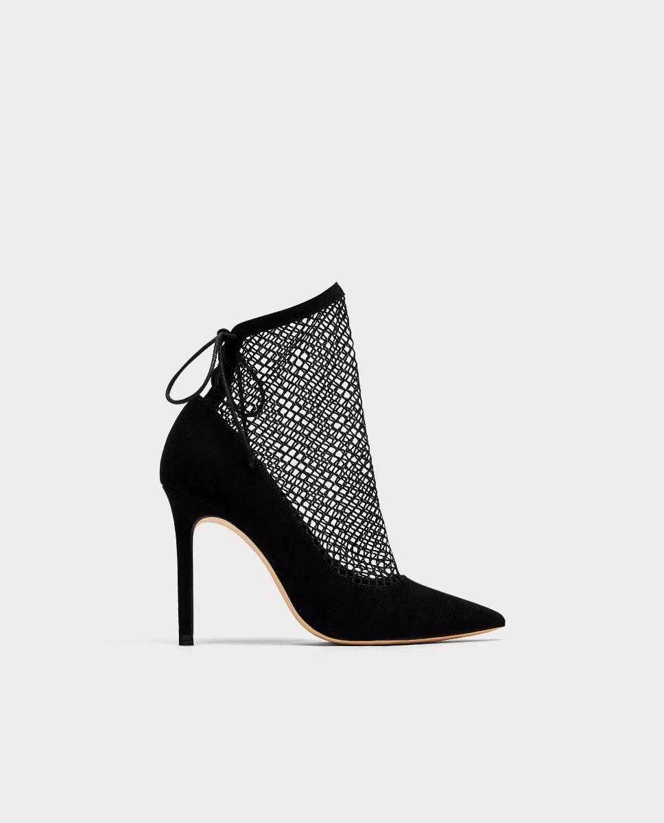 New Con En Calcetin 100 Zapatos Taco 3 Rejilla Efecto Zara 00 5PO4Yq