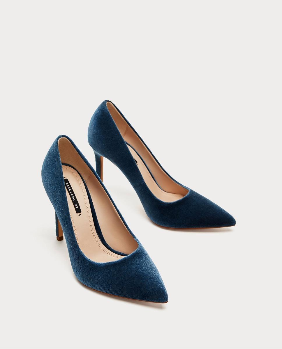 fino zara terciopelo azul taco importado zoom zapatos Cargando XBq5Et