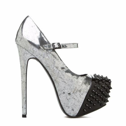 zapatos taco plataforma metalico 8 38.5 fiesta de usa stock