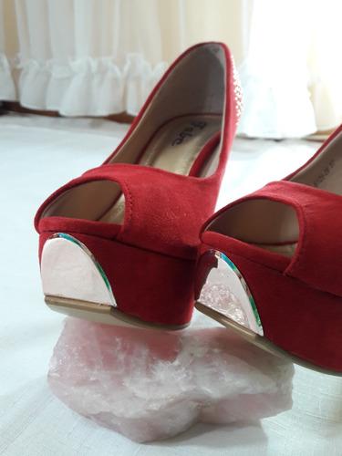 zapatos tacon stilettos rojos plataformas pet toes n° 37