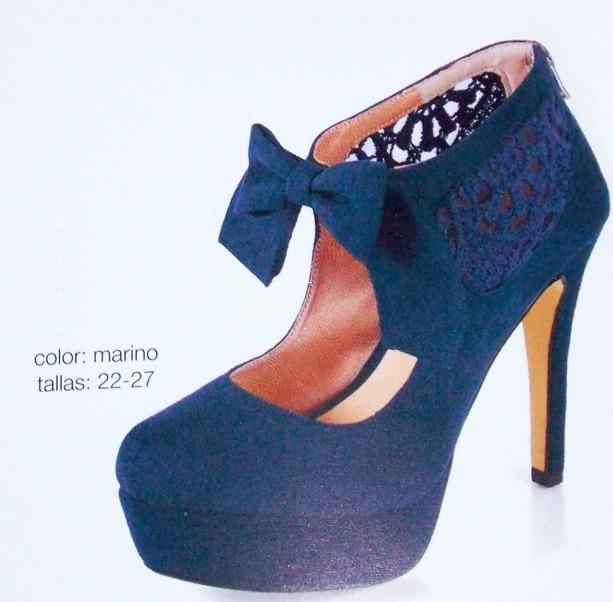 grandes ofertas en moda calidad y cantidad asegurada hermoso estilo Zapatos Tacones Dama Azul Marino Con Moño Elegantes