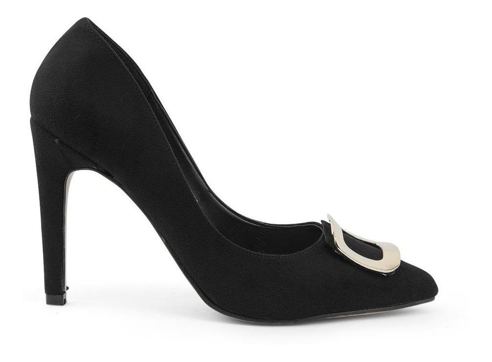 Zapatos Tacones Dama Hebilla Moda Negros 8331