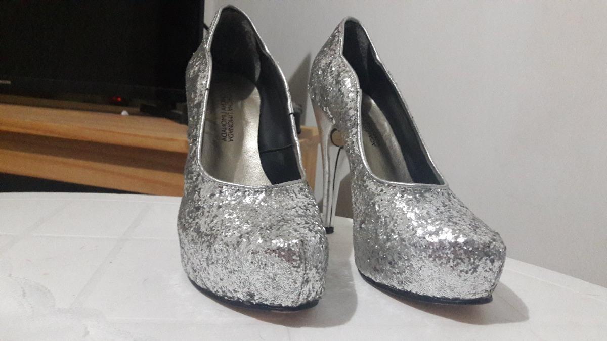 ffa58c57 Zapatos Tacones De Fiesta Plateados Con Brillo - $ 2.000,00 en ...