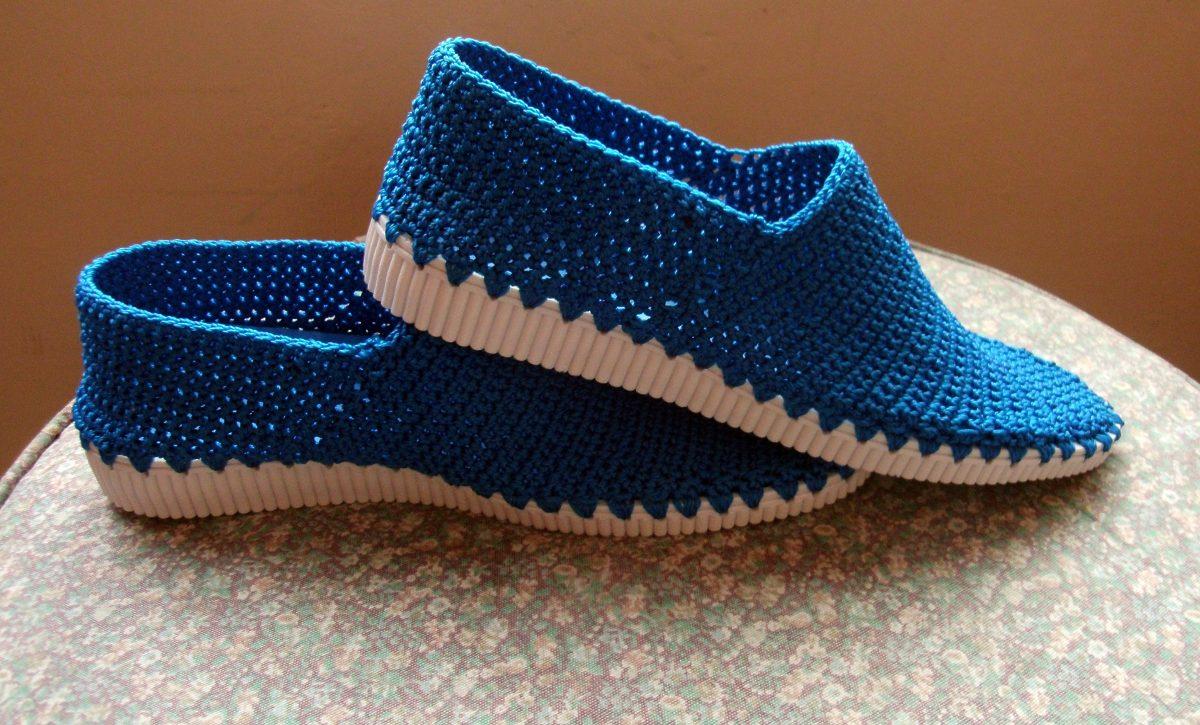 Zapatos Tejidos Blancos O Color Crochet Nylon Corte Bajo Bs 239