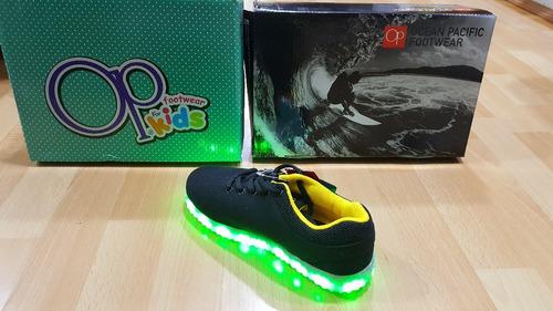 zapatos tenis op luces led de colores recargable - luz