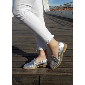 Zapatos Tipo Mocasines Tornasoladas Mujer