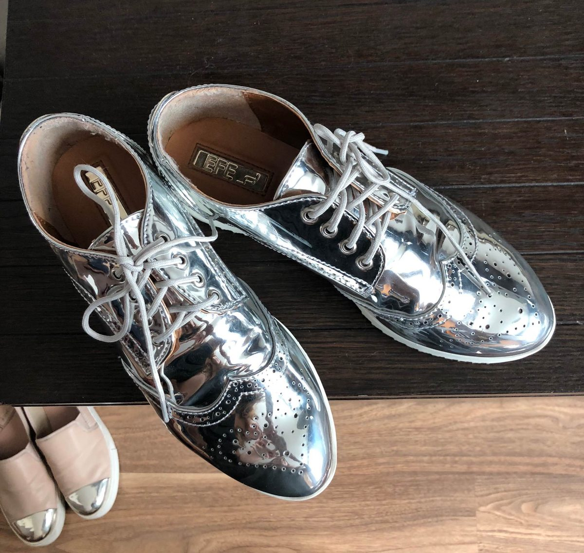 zoom charol Cargando oxford tipo zapatos plateado wqYPvPa