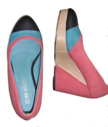 zapatos tricolor, plataforma, terraplen, talla 38