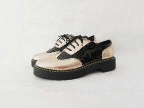 diseño de moda nuevos productos para moderno y elegante en moda Zapatos Veganos Para Mujer De Charol Y Grabado Oro Base 4 Cm