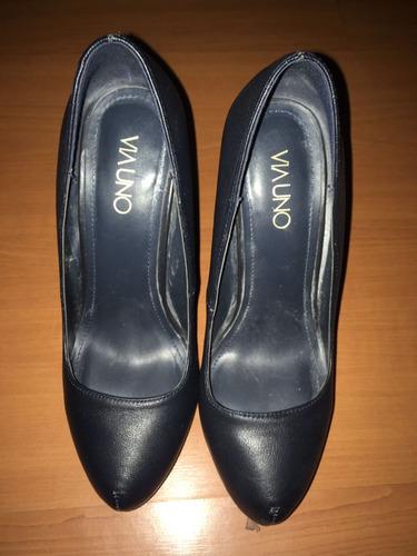 zapatos via uno 37 azules y negros