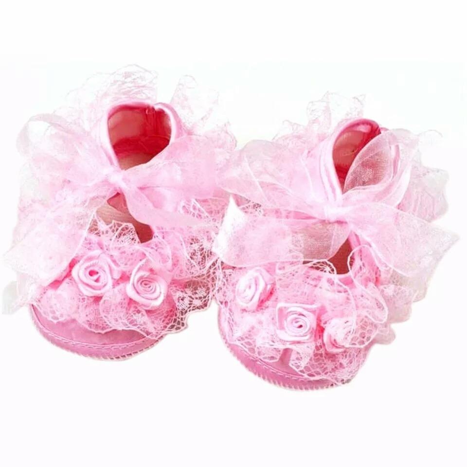 ef8f083e Zapatos Y Cinta De Encaje Bebe Rosado - S/ 25,00 en Mercado Libre