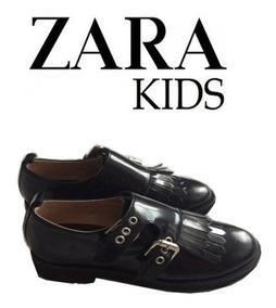 Zapatos Zara Kids Niña Cuero Azul Originales Nuevos