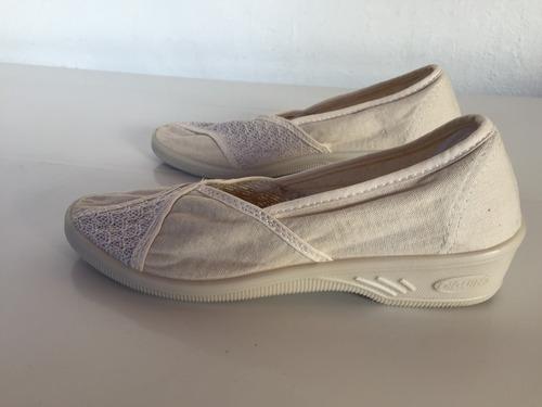 zapatos zuecos cerrado goma y lona diguin impecables!
