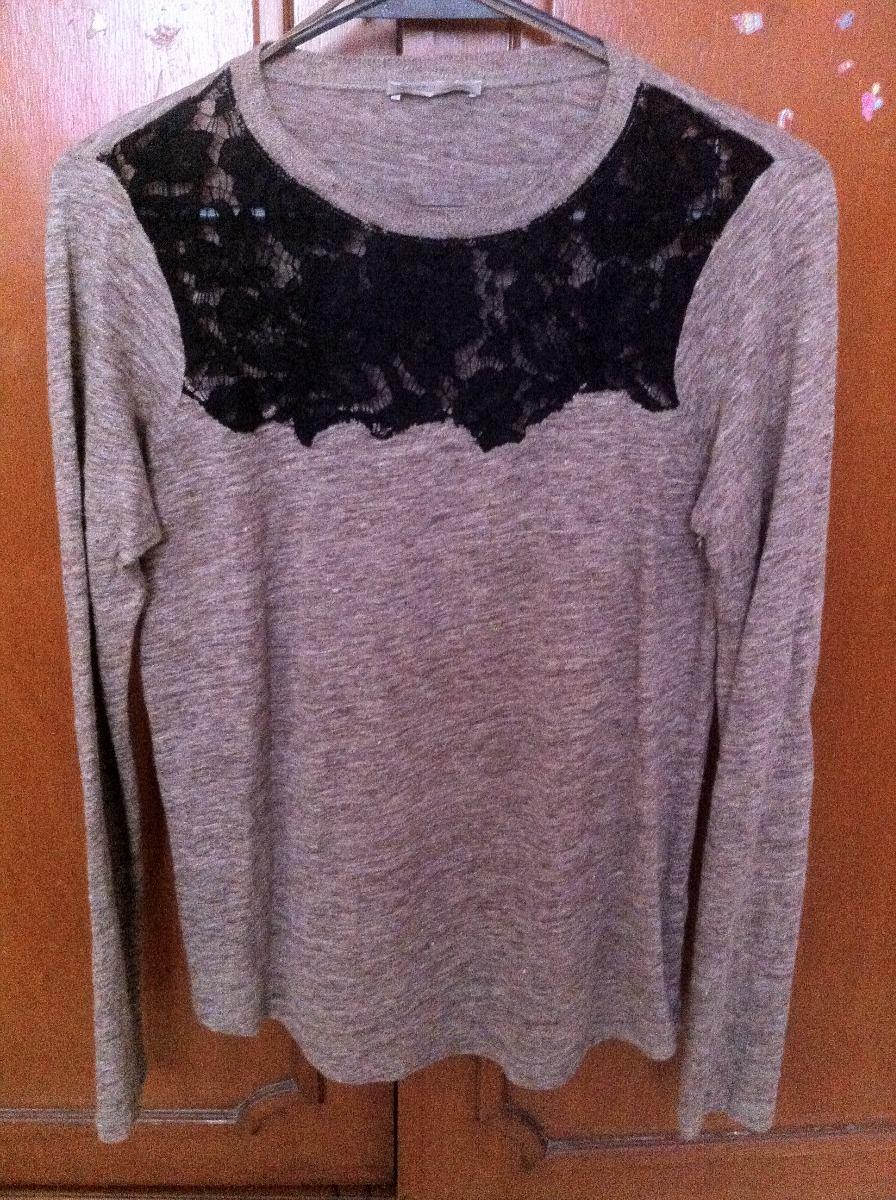 Dama Sweater Blusa 180 00 Zara Jersey Negro Encaje Basics Café OZXgRq