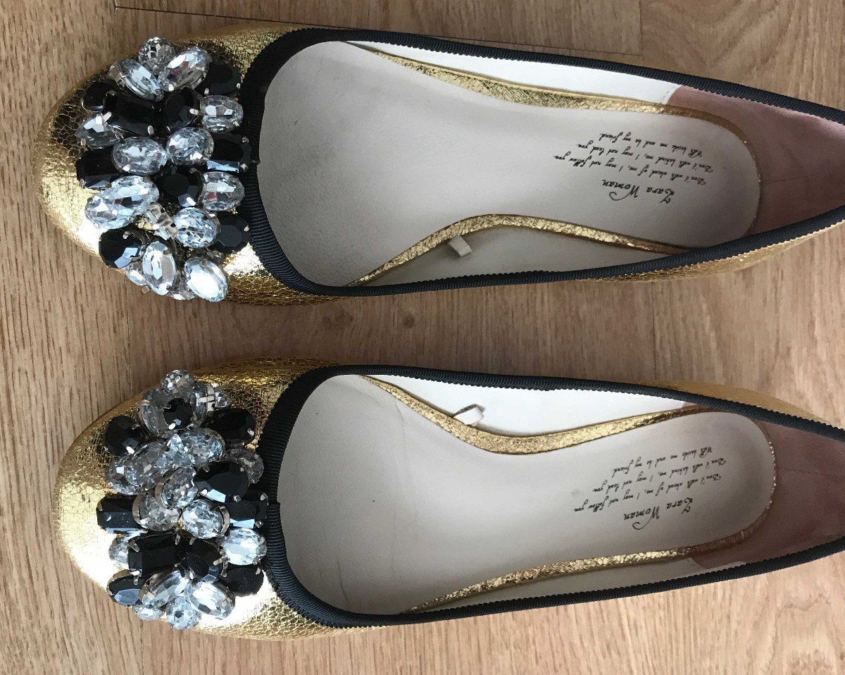 Zara Cpiedras Doradas 590 38 Chatitas Zapatos 1 00 Cuero Talle rITwrRqx