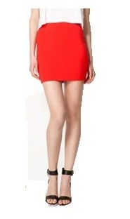 zara falda talla m color: rojo
