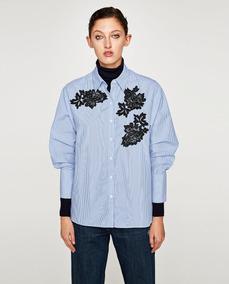 d0d514d92 Zara Nueva Camisa C/aplique De Guipiure Y Piedras Importada