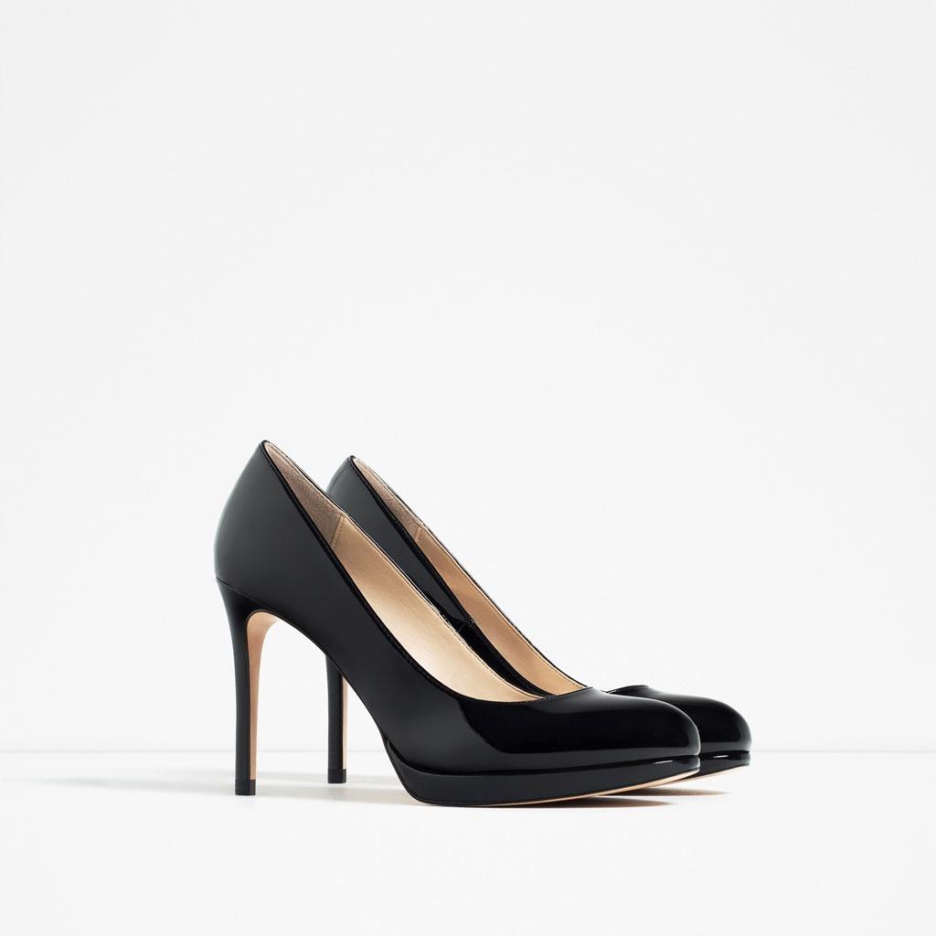 56abc913170 Zara Zapatillas Charol Elegantes Pumps Negro -   450.00 en Mercado Libre
