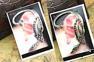 zarcillo pavo real solitario ear cuff mujer moda midi ring
