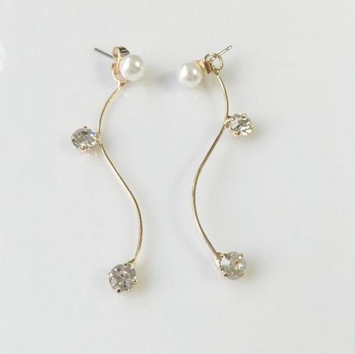 zarcillo solitario ear cuff mujer perla cristal midi ring
