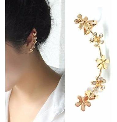 zarcillo solitario flor trepador moda juvenil mujer ear cuff