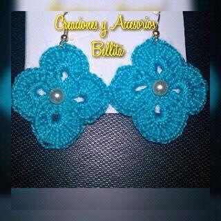zarcillos a crochet con piedras