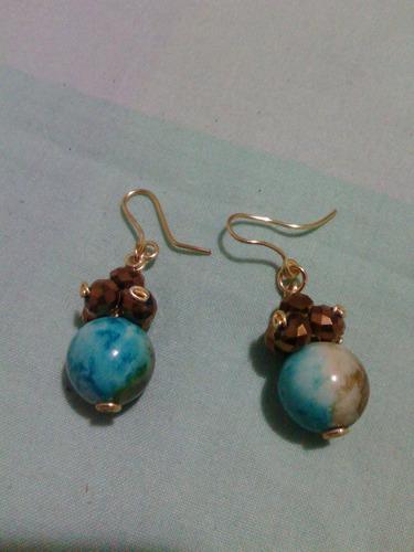 zarcillos bolas tierra turquesa con cristales y alambre tpc