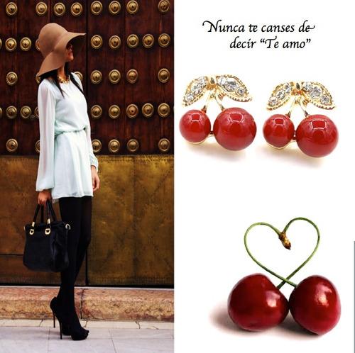 zarcillos cereza moda frutal fashion trendy parche regalo