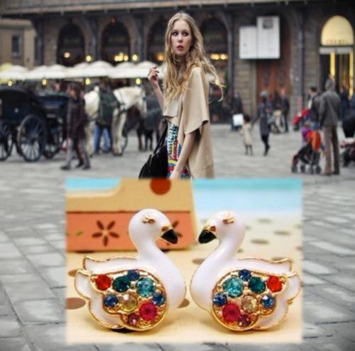 zarcillos cisne elegante solitario trepadores accesorio moda
