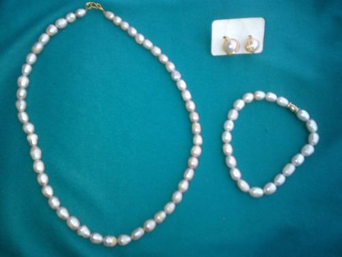 3546f77c53dd Zarcillos Collar Perlas Cultivada Naturales Variadas - Bs. 10.000