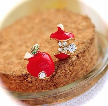 zarcillos con forma de manzana rojo amor regalo moda fashion