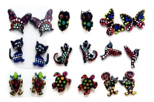 zarcillos de moda gato coquito geico artesanales fashion
