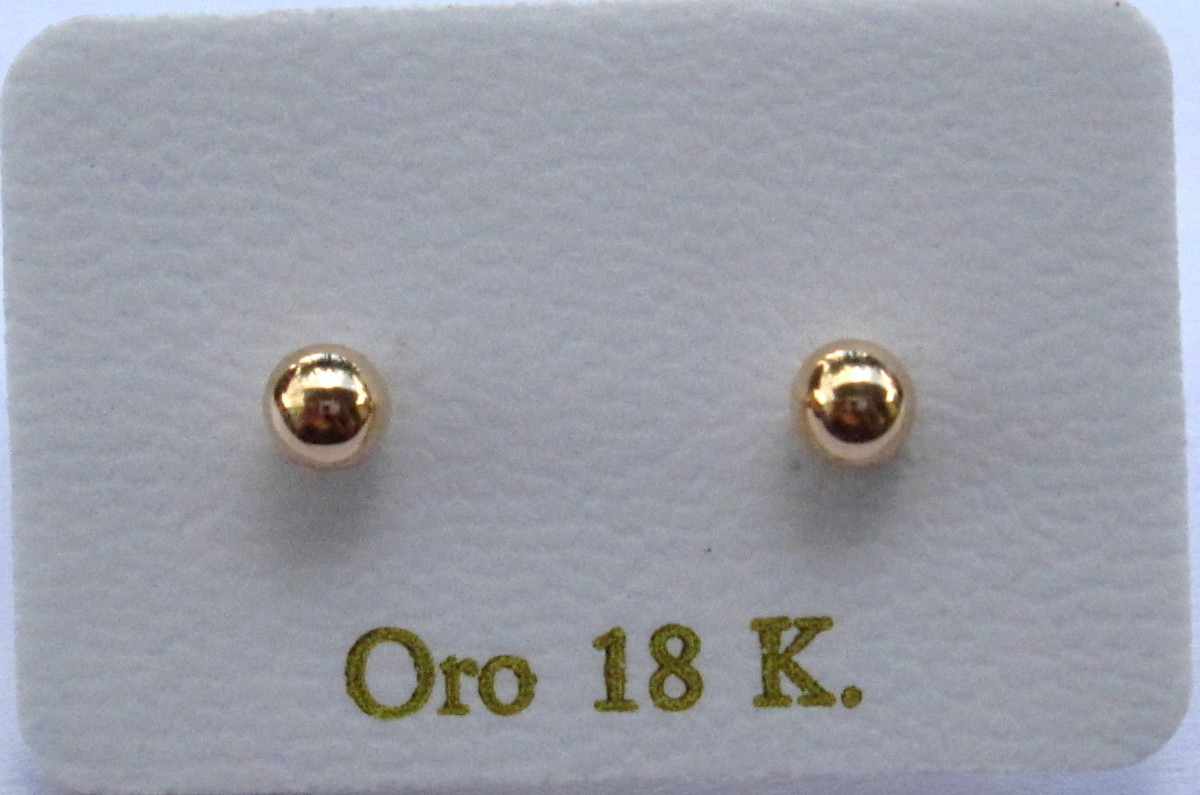 97a9f1bb8c6e Zarcillos De Oro 18k Bolas Con Rosca  4 Para Bebe