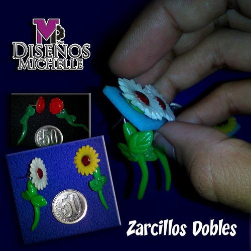 zarcillos dobles en masa flexible, varios colores.