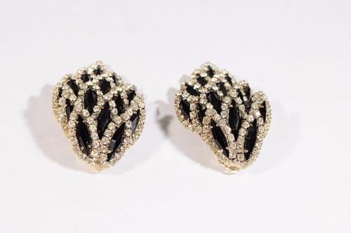 zarcillos finos con piedras strass clip (italiano) usado