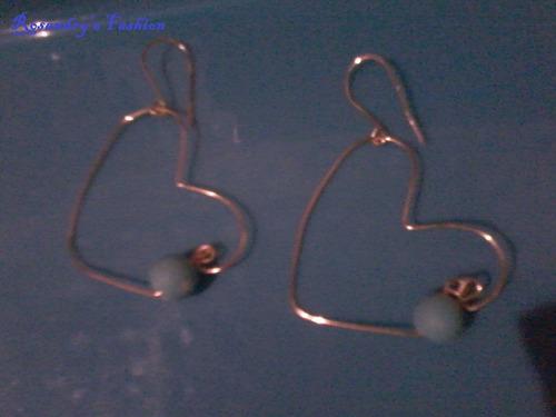 zarcillos heart big en alambre tpc original bisuteria fina