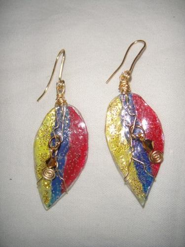zarcillos hojas venezuela con cristal y alambre tpc