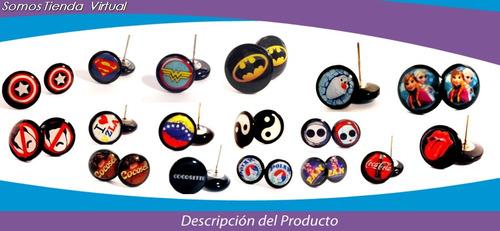 zarcillos personalizados batman, superman, mujer maravilla