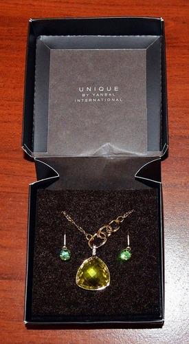 zarcillos y collar yanbal colección jade místico