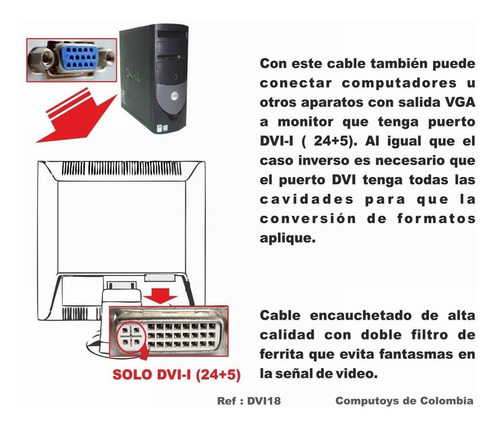 zdvi18 cable dvi-i a vga (machos) 1.8 m qdvi18q compu-toys