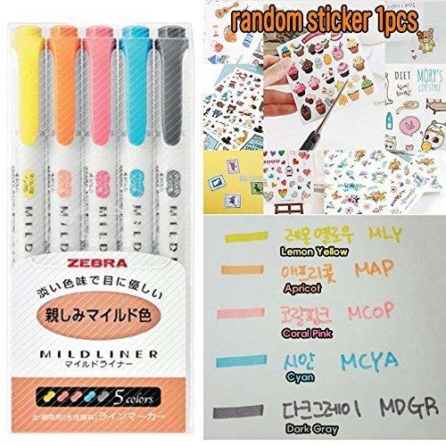 zebra highlighter mildliner 5color set marcadores arte