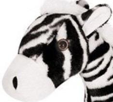 zebra pelucia em pé listrada 39cm safari festa antialergico