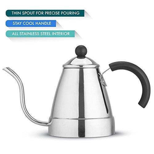zell pava para té o café de acero inoxidable con vertedor