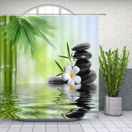 zen garden shower curtain spa green bamboo black stone...