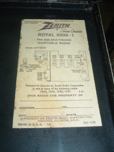 zenith transoceanic royal 3000-1 multiband la plata *lea* ºº