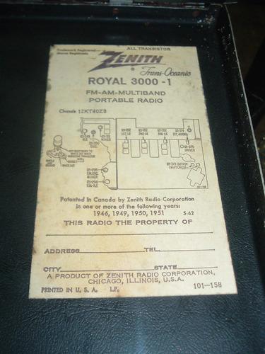 zenith transoceanic royal 3000-1 multiband la plata * leer *
