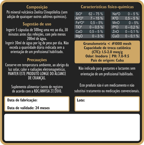 zeólita premium 200g potencializada detox natural p. saúde